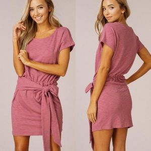 Listicle - PINK - KNITTED TIE WAIST RIB DRESS